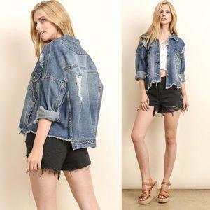 COMING SOON + TERESA distressed jean jacket